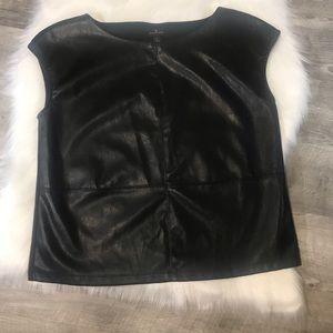 Worthington | Black Leather Top | Size Large